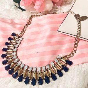 J. Crew gold statement necklace with gemstones